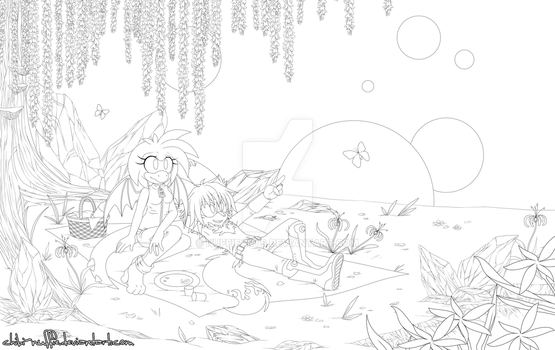 Lineart: Space-Gazing by Chibi-Nuffie