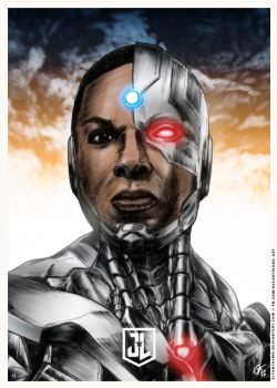 Justice League - Cyborg Poster by elfantasmo