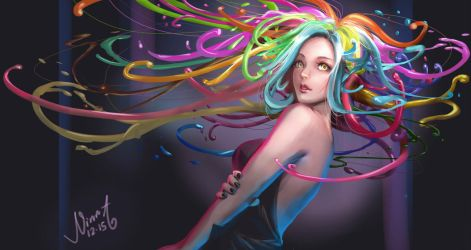 Colorful girl by NaNinna
