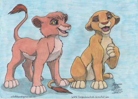 Request- Cubs Vitani and Sammy by laryssadesenhista