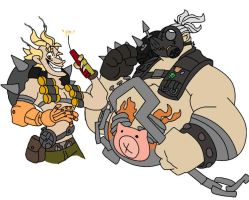 Junkrat and Roadhog by alienhominid2000