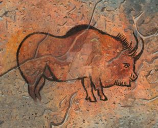 painting of bison in a cave by jilub