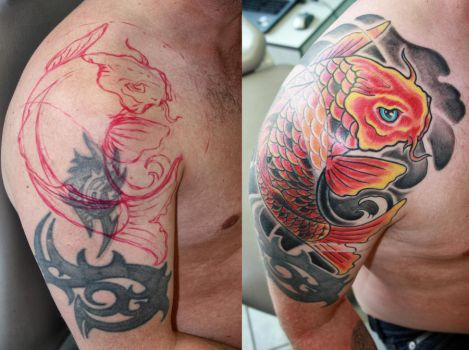 Cover up with Koi fish by gettattoo