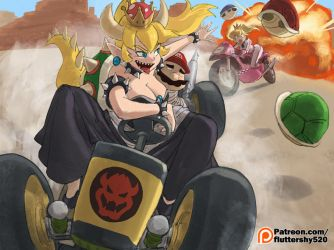 Bowsette kidnaps Mario by greenlittle