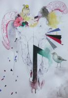 Untamed: Abstract sheep's skull by L-i-n-d-s