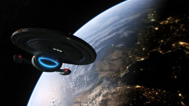 Starship Voyager over Europe and North Africa by Cannikin1701