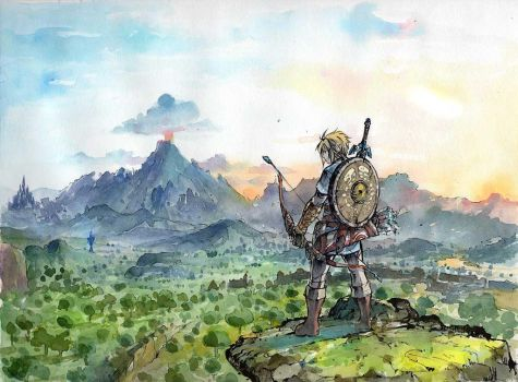 Link from Breath of the Wild sumi and watercolor by MyCKs