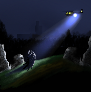 Catching something in the Helicopter spotlight spe by SvartabergetArt