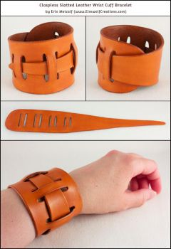 Claspless Slotted Leather Wrist Cuff Bracelet by EirewolfCreations
