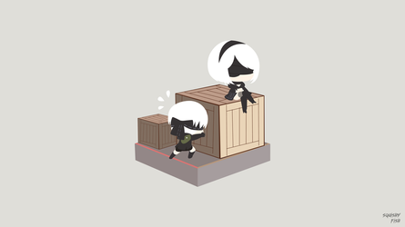 Sorting Trouble(9S and 2B) (NieR: Automata) by DeSquishyFish