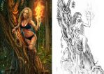Dryad In Flames Sketch, 15 years before by DarkAkelarre