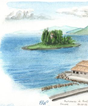 Watercolor - Greece Pontikonissi by Panaiotis