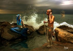 The siren and Native American by Julianez