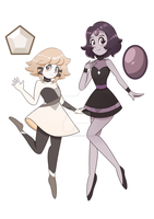 [COMMISSION] Cerussite and Black Pearl by GatlingPea32