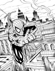 Spiderman Over the City Inks by robertmarzullo