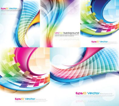 Colorful Light Lines Vector Background by vectorbackgrounds