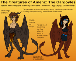 Creatures of Amenz: GARGOYLES by CoffeeAddictedDragon