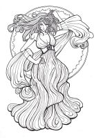 Art Nouveau tryout- The Fairy by Qoo-monster