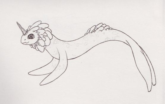 Narwhal-lion hybrid sea monster by cuppycakekitty