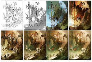 Cursed Statue Step by Step Process by MaxD-Art
