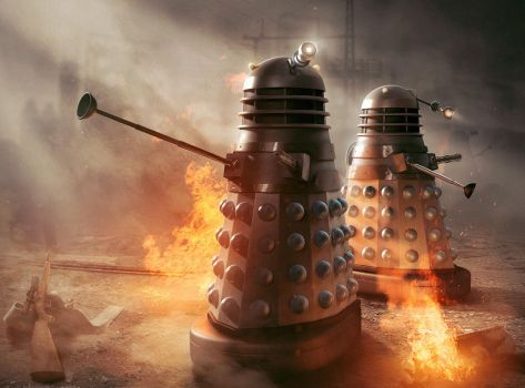 Dalek scene from 'Masters of Earth' cover image by AntLamb