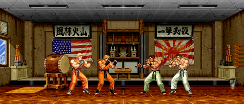 AOF2 Takuma Stage With KOF Sprites Resize by sebastito