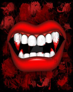 Vampire Red Bloody Mouth by Bluedarkat