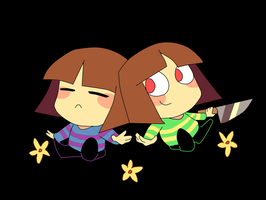 Frisk and Chara by Feri-Marife