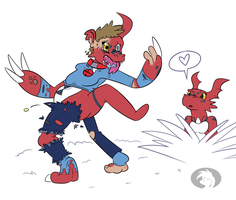 Becoming Guilmon by Trevor-Fox