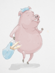 Pig With Baguettes by WickedOffKiltah