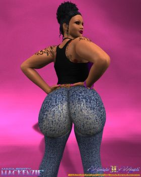 Mega Booty Mackenzie - Tight Faded Denim Jeans 000 by KingBearacuda185