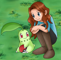 Cleo and her Chikorita by basesbytally