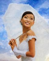Chinese girl with umbrella by AndyTkach