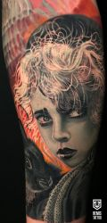 Realistic Colored Girl Portrait Tattoo by Remistattoo