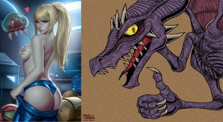 Samus Stripping Ridley Approves it! by Copeydude101