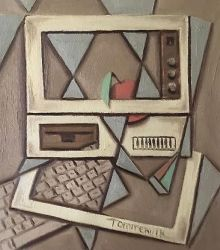 Computer with and Apple Painting by Tommervik by TOMMERVIK