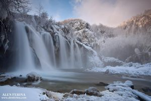 Icy Plitvice Lakes waterfalls, Croatia by Febo-theRealOne