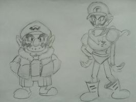 Wario and Waluigi (dressing like Sans and Papyrus) by MGLTH