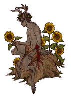 Sunflower Satyr by honeyroastedferrets