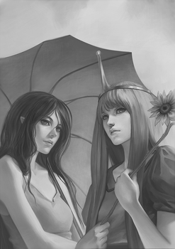 Sunflower and Umbrella by gooloo0-o