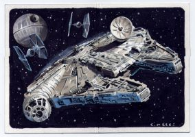 Millennium Falcon Star Wars sketch card for Topps by Kapow2003