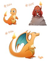 004, 005 and 006 (Pokemon Drawing Challenge) by Norwlin