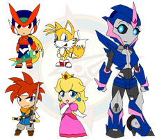 Assorted Chibis - Swords and Robots by Dragon-FangX