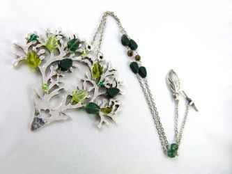 Silver Stag Tree of Life Necklace by angelyques