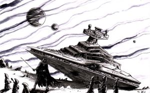 Darth Vador defending Interstellar Cruiser wreck by emalterre