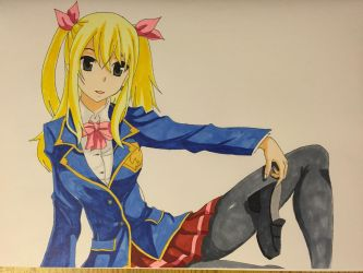 Lucy Heartfilia Copic Drawing by KurehaShido
