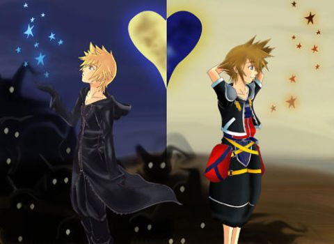 Roxas and Sora postcard by knil-maloon