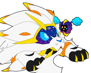Cosmog playing with Solgaleo by Rotommowtom