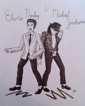 Elvis and Michael by DessyDoodlebug