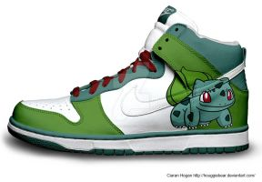 Bulbasaur Nike Dunks by Houggiebear